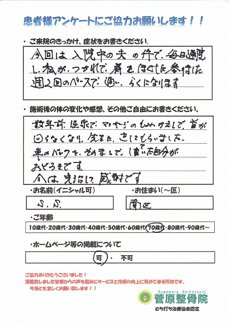 S.S.様 南区 70代 肩の痛み